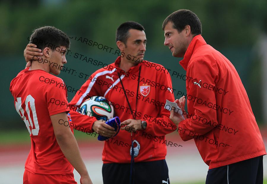 Fudbal season 2013-2014<br /> FK Crvena Zvezda pripreme<br /> Crvena Zvezda v Krka<br /> Head coach Nenad Lalatovic (R) Dragan Sarac (C) and Luka Jovic (L)<br /> Novo Mesto, 07.12.2014.<br /> foto: Srdjan Stevanovic/Starsportphoto &copy;