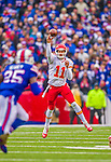 9 November 2014: Kansas City Chiefs quarterback Alex Smith makes a pass in the second quarter against the Buffalo Bills at Ralph Wilson Stadium in Orchard Park, NY. The Chiefs rallied with two fourth quarter touchdowns to defeat the Bills 17-13. Mandatory Credit: Ed Wolfstein Photo *** RAW (NEF) Image File Available ***