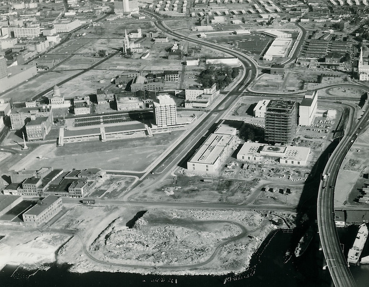 1964 January 19..Redevelopment.Downtown South (R-9)..Looking North.Financial District.City Hall under construction.future Dominion Tower Site..VU Photos.NEG# 239.NRHA# 1083..