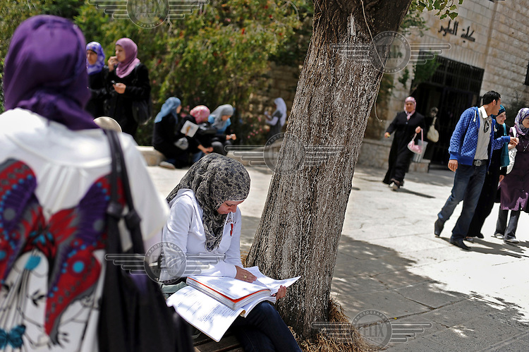 Female Palestinian students at Bir Zeit University, near Ramallah, the largest in the West Bank.
