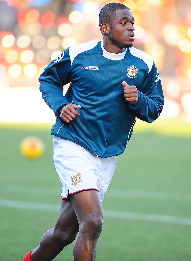 Crewe Alexandra's Uche Ikpeazu during the pre-match warm-up <br /> <br /> Photographer Craig Thomas/CameraSport<br /> <br /> Football - The Football League Sky Bet League One - Crewe Alexandra v Preston North End - Sunday 28th December 2014 - Alexandra Stadium - Crewe<br /> <br /> &copy; CameraSport - 43 Linden Ave. Countesthorpe. Leicester. England. LE8 5PG - Tel: +44 (0) 116 277 4147 - admin@camerasport.com - www.camerasport.com