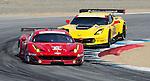 Monterey California, May 4, 2014, Laguna Seca Monterey Grand Prix, the Ferrari of Giancarlo Fisichella being chased by the Corvette of Oliver Gavin.