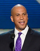 Mayor Cory Booker of Newark, New Jersey, makes remarks at the 2012 Democratic National Convention in Charlotte, North Carolina on Tuesday, September 4, 2012.  .Credit: Ron Sachs / CNP.(RESTRICTION: NO New York or New Jersey Newspapers or newspapers within a 75 mile radius of New York City)