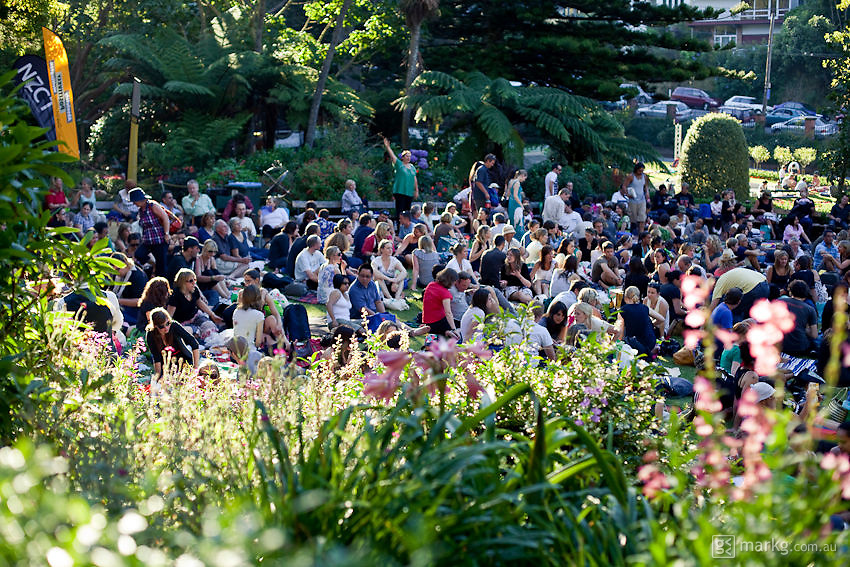 New Zealand band - The Aviators, play to a packed crowd at the 2010 ABS Garden Magic Concert Series in Wellington, New Zealand.
