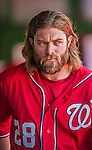 6 April 2014: Washington Nationals outfielder Jayson Werth walks in the dugout during a game against the Atlanta Braves at Nationals Park in Washington, DC. The Nationals defeated the Braves 2-1 to salvage the last game of their 3-game series. Mandatory Credit: Ed Wolfstein Photo *** RAW (NEF) Image File Available ***