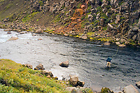 Atlantic Salmon Catch and Release Fly Fishing in Iceland. Fly fisherman casting into Hamarshylur pool in Sela river Vopnafjordur