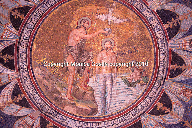 Mosaic on the ceiling of the Baptistry of Neon, depicting the baptism of Jesus by Saint John the Baptist, in Ravenna, Italy. The Baptistry was built in the 4th and 5th century.