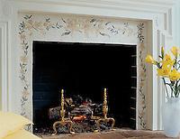 Custom flower fireplace in Ivory Cream, Verde Alpi, Verde Luna, Crema Valencia, Sylvia Gold, Rosa Portagallo tumbled