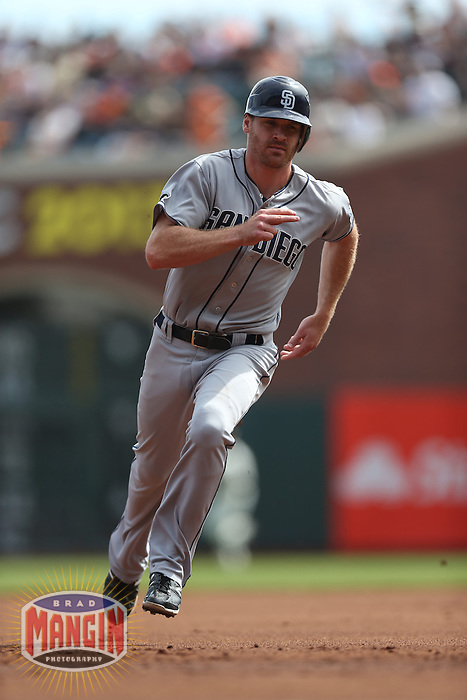 SAN FRANCISCO, CA - SEPTEMBER 23:  Logan Forsythe #11 of the San Diego Padres runs the bases against the San Francisco Giants during the game at AT&T Park on Sunday, September 23, 2012 in San Francisco, California. Photo by Brad Mangin