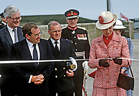 Princess Anne on a May 1985 Royal Visit to N Ireland to officially re-open the harbour in the Co Down fishing village of Portavogie following extensive improvements. Also in the photo is Douglas Hurd, Secretary of State for N Ireland. 19850502g.<br /> <br /> Copyright Image from Victor Patterson, 54 Dorchester Park, Belfast, UK, BT9 6RJ<br /> <br /> t1: +44 28 9066 1296 (from Rep of Ireland 048 9066 1296)<br /> t2: +44 28 9002 2446 (from Rep of Ireland 048 9002 2446)<br /> m: +44 7802 353836<br /> <br /> e1: victorpatterson@me.com<br /> e2: victorpatterson@gmail.com<br /> <br /> The use of my copyright images is subject to my Terms &amp; Conditions.<br /> <br /> It is IMPORTANT that you familiarise yourself with them. They are available on my website at www.victorpatterson.com.<br /> <br /> None of my copyright images may be used on a website unless they are visibly watermarked, i.e. &copy; Victor Patterson within the body of the visible image. Metadata denoting my copyright must NOT be deleted. <br /> <br /> Web use is extra at currently recommended NUJ rates.