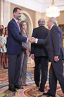 King Felipe VI of Spain and Queen Letizia of Spain receive  the swimming and water polo team´s repre