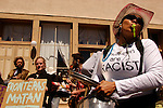 Jane Jason of Tucson Arizona protests the Minuteman Project in Tombstone, Arizona on Friday, April 1, 2005. The Minuteman Project is an all-volunteer group monitoring the US/Mexico border in Arizona for the month of April, reporting all illegal border crossers to the US Border Patrol.<br />