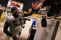 PITTSBURGH, PA - NOVEMBER 06: Ray Lewis #52 of the Baltimore Ravens celebrates with fans following their win against the Pittsburgh Steelers during the game on November 6, 2011 at Heinz Field in Pittsburgh, Pennsylvania.  (Photo by Jared Wickerham/Getty Images)