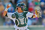 8 July 2012: Vermont Lake Monsters catcher Rhett Stafford in action against the State College Spikes at Centennial Field in Burlington, Vermont. The Lake Monsters rallied from a 2-0 late inning deficit, to defeat the Spikes 8-2 in NY Penn League action. Mandatory Credit: Ed Wolfstein Photo
