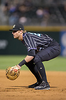 Charlotte Knights first baseman Danny Hayes (20) on defense against the Norfolk Tides at BB&T BallPark on May 2, 2017 in Charlotte, North Carolina.  The Knights defeated the Tides 8-3.  (Brian Westerholt/Four Seam Images)