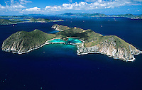 Aerial view of Ginger Island.British Virgin Islands