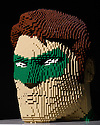 THE ART OF THE BRICK: DC SUPER HEROES - Artist Nathan Sawaya returns to London with the world's largest LEGO exhibition, inspired by Batman, Superman, and Wonder Woman. The exhibition opens, in a purpose-built marquee in Doon Street car park, Upper Ground, on the South Bank. Picture shows: Green Lantern Bust.