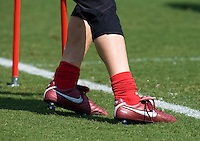 Nicole Barnhart, Nike shoes. The USWNT practice at WakeMed Soccer Park in preparation for their game with Japan.