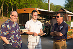 Watertown, CT- 18 May 2017-051817CM17- From left, Ron Bushka, Ron Buska JR and Ken Bushka from Buska  Lumber of Waterbury share a laugh during the annual Greater Waterbury Campership Fund picnic at Camp Mataucha in Watertown on Thursday. The fundraiser featured a myriad of pizza options, music from the Holy Cross students  with proceeds allowing children to go to summer camp.    Christopher Massa Republican-American
