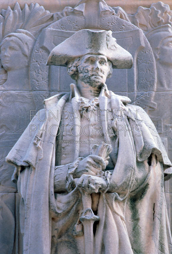ACID RAIN DAMAGE TO STATUE OF WASHINGTON - AFTER<br /> (2 of 2)<br /> Washington as Commander-In-Chief<br /> Washington Square Arch, Washington Square Park, June 1994.  <br /> SO2 combines with atmospheric moisture (H20), yielding acid rain, or sulfuric acid (H2SO4). CaCO3 in limestone statuary dilutes the sulfuric acid to form calcium sulfate, corroding the stone.