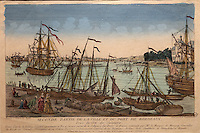 Second half of the town and port of Bordeaux, seen from Salinieres, engraving after a painting by J Vernet in the royal collection, in the Musee d'Aquitaine, Cours Pasteur, Bordeaux, Aquitaine, France. Picture by Manuel Cohen