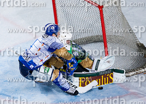 14.09.2012. Pula Arena, Pula, CRO, EBEL, KHL Medvescak Zagreb vs HDD Telemach Olimpija Ljubljana, 03. Runde, in picture David Brine (KHL Medvescak Zagreb, #4) vs Jerry Kuhn (HDD Telemach Olimpija, #35) during the Erste Bank Icehockey League 3rd Round match between KHL Medvescak Zagreb and HDD Telemach Olimpija Ljubljana at the Pula Arena, Pula, Croatia on 2012/09/14. (Photo By Vid Ponikvar / Sportida)
