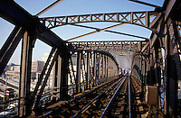 City railway bridge stands empty, Paris, France.