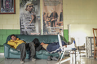 Migrants who have just been deported are resting in la Casa del Migrante. They will attempt  to cross again or will return  to their family. Tijuana, Mexico. Jan 08, 2015.