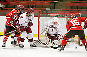 Karell Emard (St. Lawrence - 76), Liza Ryabkina (Harvard - 3), Laura Bellamy (Harvard - 1), Kelly Sabatine (St. Lawrence - 16) - The Harvard University Crimson defeated the St. Lawrence University Saints 8-3 (EN) to win their ECAC Quarterfinals on Saturday, February 26, 2011, at Bright Hockey Center in Cambridge, Massachusetts.