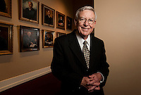 TALLAHASSEE, FL.3/20/09-WELLS-CH-Former Florida Supreme Court Justice Charles T. Wells joined his colleagues on the wall when he retired from State's highest court on March 3rd, 2009. Friday in Tallahassee he returned to the courtroom where he worked nearly fifteen years for a photo...COLIN HACKLEY PHOTO FOR ORLANDO MAGAZINE