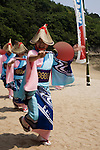 Sensuijima Sea Breem Festival -  The way in which Japanese dances are performed is different in each region, though the typical Bon dance involves people lining up in a circle.  The dance of a region can show the area's history and specialization.  Dancers perform the same dance sequence in unison.