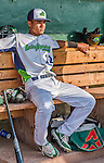 8 July 2015: Vermont Lake Monsters shortstop Richie Martin sits in the dugout prior to a game against the Mahoning Valley Scrappers at Centennial Field in Burlington, Vermont. The Lake Monsters defeated the Scrappers 9-4 to open the home game series of NY Penn League action. Mandatory Credit: Ed Wolfstein Photo *** RAW Image File Available ****