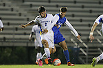 05 October 2015: Hofstra's Nino Alfonso (2) and Duke's Brody Huitema (CAN) (right). The Duke University Blue Devils hosted the Hofstra University Pride at Koskinen Stadium in Durham, NC in a 2015 NCAA Division I Men's Soccer match. Duke won the game 3-2 in overtime.