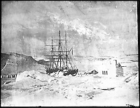 BNPS.co.uk (01202 558833)<br /> Pic: PenzanceAuctions/BNPS<br /> <br /> The crew constructed outbuildings from ice after their ships were frozen in. <br /> <br /> Incredibly rare glass slides depicting the British expedition to the North Pole in 1875 have been found 140 years later.<br /> <br /> The remarkable images from the early days of photography depict the brave men and their Inuit guides who endured sub-zero temperatures to try to become the first to reach the pole in 1875.<br /> <br /> Photographers Thomas Mitchell and George White went on the failed expedition and now 42 of their glass slides have been found in a box during a house clearance in Cornwall.