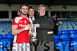 The Rathmore captain Brendan O'Keeffe lifts the cup after his team defeated Dr Crokes in Fitzgerald Stadium on Sunday.