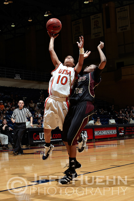SAN ANTONIO, TX - FEBRUARY 26, 2011: The Texas State University Bobcats vs. the University of Texas at San Antonio Roadrunners Women's Basketball at the UTSA Convocation Center. (Photo by Jeff Huehn)