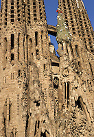 Barnabas and Simon, sculptures by Llorenç Matamala i Piñol, the apostles to who both eastern towers are dedicated; Coronation of the Virgin, sculptures by Llorenç Matamala i Piñol; Tree of life, Nativity façade, La Sagrada Familia, Roman Catholic basilica, Barcelona, Catalonia, Spain, built by Antoni Gaudí (Reus 1852 ? Barcelona 1926) from 1883 to his death. Still incomplete. Picture by Manuel Cohen