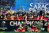 Saracens players celebrate after the match. European Rugby Champions Cup Final, between Saracens and Racing 92 on May 14, 2016 at the Grand Stade de Lyon in Lyon, France. Photo by: Patrick Khachfe / Onside Images