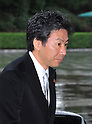 September 2, 2011, Tokyo, Japan - Jun Azumi, newly-appointed Finance minister, arrives for an attestation ceremony before Emperor Akihito at the Imperial Palace in Tokyo on Friday, September 2, 2011. (Photo by Natsuki Sakai/AFLO) [3615] -mis-