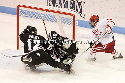 Erik Foley (PC - 12), Hayden Hawkey (PC - 31), Bobo Carpenter (BU - 14) - The Boston University Terriers tied the visiting Providence College Friars 2-2 on Saturday, December 3, 2016, at Agganis Arena in Boston, Massachusetts.