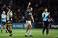 Nick Evans of Harlequins waves to the crowd as he leaves the field following his final home game for the club. Aviva Premiership match, between Harlequins and Wasps on April 28, 2017 at the Twickenham Stoop in London, England. Photo by: Patrick Khachfe / JMP