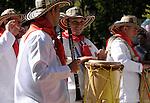 The Hispanic Parade in New York City. A men representing Colombia in the Hispanic Parade in New York City.