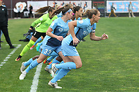 Piscataway, NJ - Saturday May 20, 2017: Christie Pearce, Erin Simon prior to a regular season National Women's Soccer League (NWSL) match between Sky Blue FC and the Houston Dash at Yurcak Field.  Sky Blue defeated Houston, 2-1.
