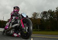 Oct. 8, 2012; Mohnton, PA, USA: NHRA pro stock motorcycle rider Eddie Krawiec during the Auto Plus Nationals at Maple Grove Raceway. Mandatory Credit: Mark J. Rebilas-