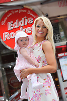NO REPRO FEE:  14.3.12: MUMS EAT FREE AT EDDIES ON MOTHERS DAY: Eddie loves his Mammy and he wants to share the love with other Irish Mammies. Thats why hes running a Mums Eat Free offer on Mothers Day, Sunday, March 18th.  Compliments of your favourite Eddie Rockets City Diner, Mammies can order from a special Mothers Day Menu  and Eddie picks up the tab!    Mothers can pick from a tasty range of Starters (Garlic mushrooms to Nachos) followed by a delicious Main Course (choose from Eddies famous hamburgers, hotdogs, wraps etc) and finish up with a nice cup of Eddies tea for coffee.  Mothers, but especially Irish Mammies, are special and weve got to treat them nice on this day, said Eddie, Thats why our City Diners are throwing open their doors to Mothers/Mammies/Mums with a tasty offer.  Eddie Rockets City Diners across the country look forward to welcoming Mothers and their families on Sunday next. ** And, of course, visitors to Eddie Rockets City Diners on Mothers Day and over the St Patricks Festival can indulge their Irishness with a delicious Paddy OShake made with 100 per cent Irish Mint Chocolate Chip Ice Cream with a Swirl of Cream, topped with Oreo. Pictured at Eddie Rocket' South Anne Street was model Kerri Nicole with her daughter Kayla (age 10 months)  and mother Daphine enjoying a taste of Eddie Rocket's Mothers Day Specials. Picture Collins Photos.