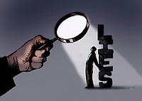 Magnifying glass held over man hiding the word lies
