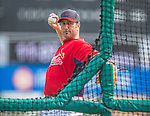 2 March 2013: St. Louis Cardinals hitting coach John Mabry tosses batting practice prior to a Spring Training game against the Washington Nationals at Roger Dean Stadium in Jupiter, Florida. The Nationals defeated the Cardinals 6-2 in their first meeting since the NLDS series in October of 2012. Mandatory Credit: Ed Wolfstein Photo *** RAW (NEF) Image File Available ***