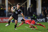 Ollie Devoto of Bath Rugby looks to get past Eric Escande of Toulon. European Rugby Champions Cup match, between Bath Rugby and RC Toulon on January 23, 2016 at the Recreation Ground in Bath, England. Photo by: Patrick Khachfe / Onside Images