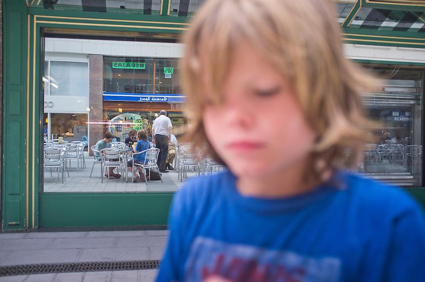 Felix, Lucas and I eating Rabas at a bar in Las Arenas, Bilbao, Spain.