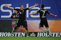 USSBALL   1. BUNDESLIGA    SAISON 2012/2013    10. Spieltag   Hamburger SV - FC Bayern Muenchen                    03.11.2012 JUbel nach dem 1:0: Bastian Schweinsteiger (li) und Franck Ribery (re, beide FC Bayern Muenchen)